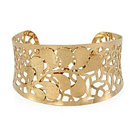 Estate 18k Yellow Gold Filigree Floral Wide Contour Cuff Bracelet