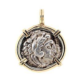 Rome Nero Denarius Silver Coin 14k Yellow Gold Frame Pendant