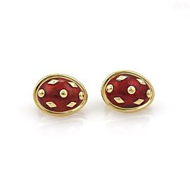 Tiffany & Co. Schlumberger Red Dot Lozenge Enamel Earrings