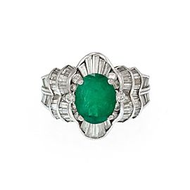 Vintage 4ct Diamond Emerald Platinum Floral Cocktail Ring Size 6
