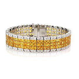 Estate 38.00ct Yellow sapphire & Diamond 18k White Gold 15.2mm Wide Bracelet