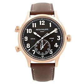 Patek Philippe Calatrava Pilot Travel Time 18k Rose Gold Mens Watch 5524R-001