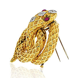 David Webb Vintage 18k Yellow Gold Serpent with Diamonds and Rubies Brooch