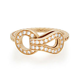 Cartier Agrafe 18K Yellow Gold Diamond Ladies Ring 0.23cttw Size 53