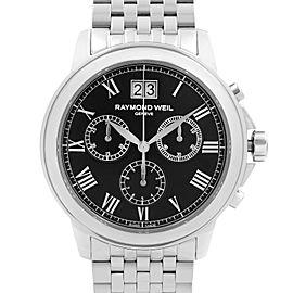 Raymond Weil Tradition 39mm Steel Black Dial Quartz Mens Watch 4476-ST-00200