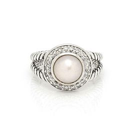 David Yurman Diamond Pearl Sterling Silver Cocktail Ring Size - 5