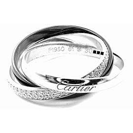 Cartier 18k White Gold Platinum Ceramic Diamond Trinity Band Ring Size 61 Cert.