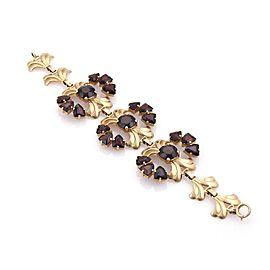 Vintage Retro 47ct Garnet 14k Yellow Gold Floral Link Bracelet