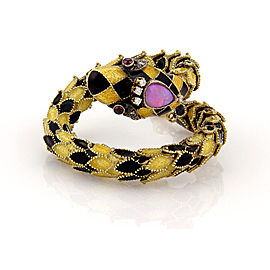 Estate 14K Yellow Gold Diamond Opal and Garnet Snake Twist Bangle Bracelet