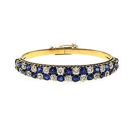 Rare Victorian 15.5ct Old Mine Cut Diamond & Sapphire 18k Yellow Gold Bracelet