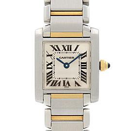 Cartier Tank Francaise 18K Gold Steel Quartz Breige Dial Ladies Watch W51007Q4