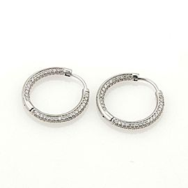 Tiffany & Co 1.00ct Inside Out Diamonds 18k White Gold Small Hoop Earrings