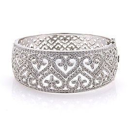 Estate 2.17ct Pave Diamonds 14k White Gold Wide Fancy Open Band Bracelet