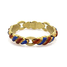 18kt Yellow Gold Fancy Swirl Shell Link Design Red & Blue Enamel Bracelet