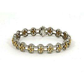 Estate 3.25ct Diamond 18k Yellow Gold Floral Link Bracelet