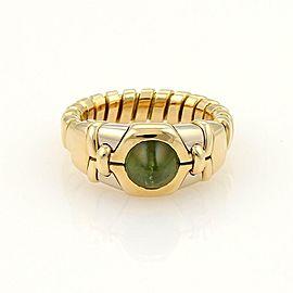 Bvlgari Bulgari Tubogas Green Tourmaline 18k Gold Adjustable Gold Ring Size 5