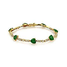 Estate 1.15ct Diamond Jade Heart 18k Yellow Gold Bar Link Bracelet