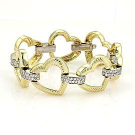 "Stunning 14k Two Tone Gold & 2ct Diamonds Open Heart Link Bracelet 8"""
