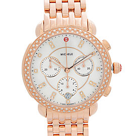Michele Sidney Rose Gold Steel Diamond Bezel Quartz Ladies Watch MWW30A000033