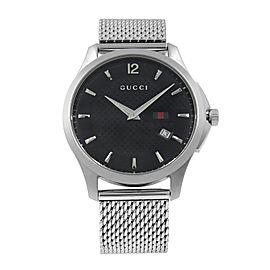 Gucci G-Timeless 40mm Steel Mesh Bracelet Black Dial Quartz Mens Watch YA126308