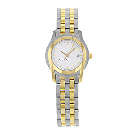 Gucci 5500L Two Tone Stainless Steel White Dial Quartz Ladies Watch YA055528