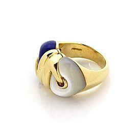 Bvlgari Bulgari Lapis Mother of Pearl 18k Yellow Gold Double Heart Ring