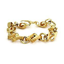 "Henry Dunay 18k Yellow Gold Textured Fancy Link Bracelet 8.25"""