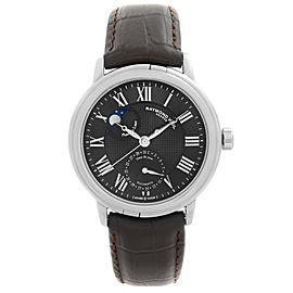 Raymond Weil Maestro Moonphase Steel Black Roman Dial Mens Watch 2839-STC-00209