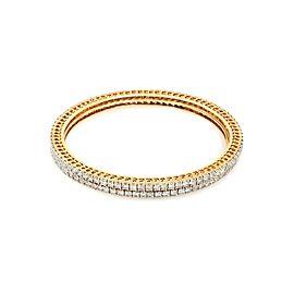 Stunning Full Circle 11ct Diamond 18k Yellow Gold Set of 2 Bangles