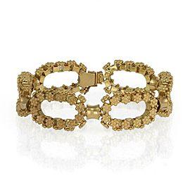 Etruscan Floral Design 18k Yellow Gold Open Oval Link Bracelet