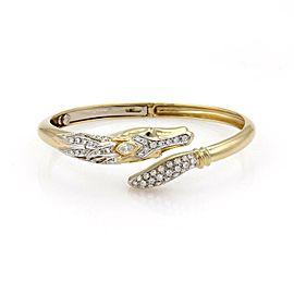 Estate 1.10ct Diamond 18k Two Tone Gold Horse Bypass Bracelet Bangle