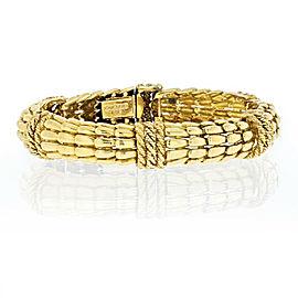 David Webb 18k Yellow Gold Twist Rope Sectional Fishscale Flexible Bracelet