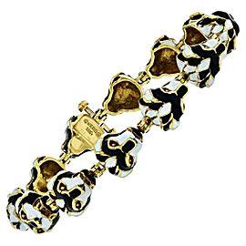 David Webb Vintage 18K Gold Lion Head Black and White Enamel Link Bracelet