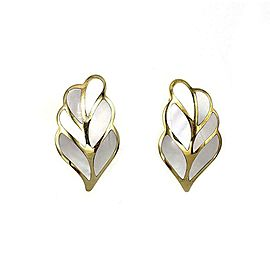Tiffany & Co. Mother Of Pearl Inlay 18k Yellow Gold Leaf Clip On Earrings