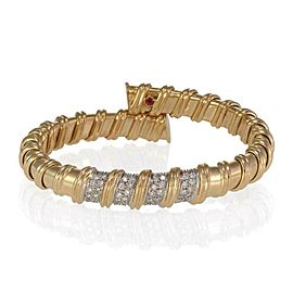 Roberto Coin Pave Diamonds 18k Gold Wrap Style 10.5mm Flex Cuff Bracelet