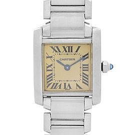 Cartier Tank Francaise Stainless Steel Cream Roman Dial Quartz Ladies Watch 2300