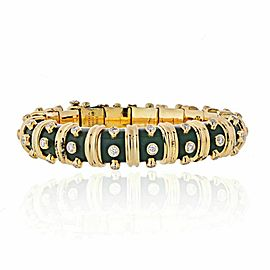 Tiffany & Co Schlumberger Platinum & Yellow Gold Green Enamel Bracelet 3.00cttw