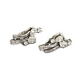 Estate 4.00ct Diamond Platinum 14k White Gold Floral Clip On Earrings
