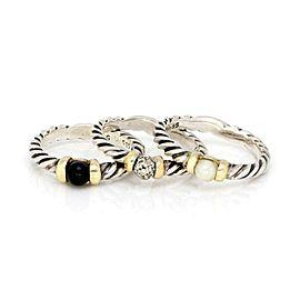 David Yurman Diamond & Gems 925 Silver 18k Gold Set of 3 Cable Rings Size 6