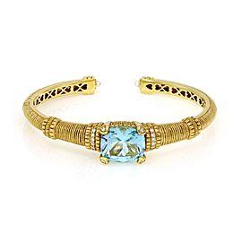 Judith Ripka Diamond Blue Topaz 18k Yellow Gold Cuff Bangle Bracelet