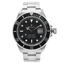 Rolex Submariner Date Holes None Ceramic Steel Black Dial Mens Watch 16610