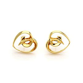 Tiffany & Co. Vintage 18k Yellow Gold Fancy Heart Stud Earrings