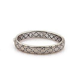 Roberto Coin Granada Diamond 18k White Gold 11mm Floral Bangle Bracelet