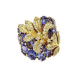 Beautiful 8.15ct Diamond Tanzanite 18k Rose Yellow Gold Wide Floral Ring