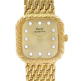 Vintage Piaget 18k Gold Custom Diamond Dial Ladies Quartz Watch 8952 P 31