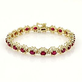Estate 14K Yellow Gold 13.4 Ct Diamond & Ruby Tennis Bracelet