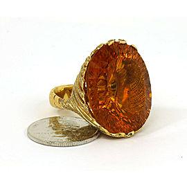1.60ct Diamond Large Orange Oval Gemstone 18k Yellow Gold Cocktail Ring