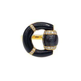 "Gucci Diamond Onyx ""G"" 18k Yellow Gold Fancy Ring Size 6.5"