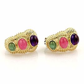 Amethyst & Tourmaline 18k Carats 18k Gold Curved Huggie Post Clip Earrings