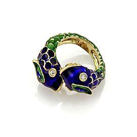 Estate Diamond 14k Yellow Gold Blue & Green Enamel Snake Bypass Ring Size 5